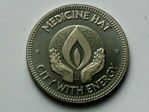 Medicine Hat Alberta CANADA 1975 Trade DOLLAR Token Energy City & Coat of Arms