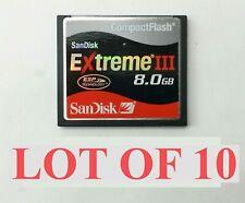 SanDisk Extreme III 8GB Compact Flash CompactFlash CF Memory Card Lot 10