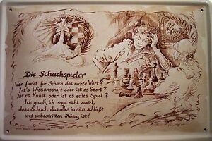 Beruf Schachspieler Schachspielerin Blechschild Schild Blech Tin Sign 20 x 30 cm
