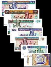Myanmar 1994-97 > 50 Pyas, 1 /5/10/20/50/100 Kyats, Banknote set of 7 UNC