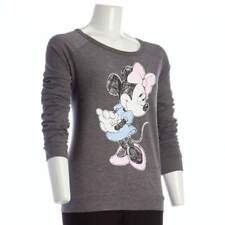 Disney Minnie Mouse Bow Pink Gray Women Juniors L/S Fall Knit Pullover Top M
