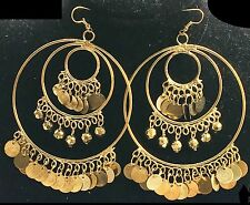 Quirky Boho Gypsy Bellydancer style antique gold huge belly dance hoop earrings