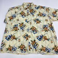 Pierre Cardin Button Up Shirt Mens 3XLT Tan Floral Hawaiian Short Sleeve Casual