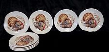 Pottery Barn~Set/8 Watercolor TURKEY Appetizer Salad PLATES Thanksgiving NEW