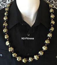 Hawaii Wedding Gold Hibiscus Kukui Nut Lei Graduation Luau Party Necklace