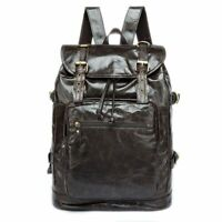 Mens Casual Backpack Large Capacity Genuine Leather Business Solid Rucksack