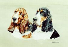 Basset Hound Pair Art Print by UK Artist CAH Marshall LAST ONE!