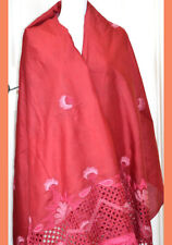 Silk Vintage Red Color Cut Work Embroidered Long Stole, Wrap, Dupatta, Veil