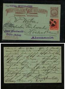 Bolivia  nice uprated postal card to Germany   1908   KS0712