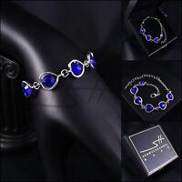 Schickes Armband, Bracelet *Blaue Herzen* Weißgold pl, Swarovski Elements, +Etui