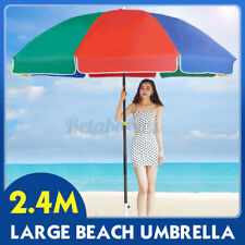 US 2.4M Large Beach Pool Sun Protection Umbrella Outdoor Advertising Garden Yard