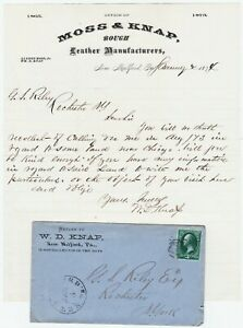 RARE  Signed Letter & Cover - Knap Leather Manufacturers 1874 New Milford PA