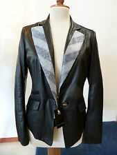 Giacca in pelle nappa nera Violanti lustrini swarovski genuine leather jacket