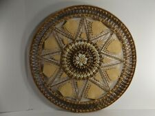 "Large Vintage Intricately Woven Primitive Seashell & Palm Fiber Wall Art 19�x ¾"""