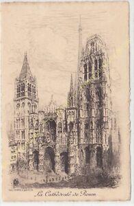 Eau Forte ARTHUR MAYEUR la Cathédrale de Rouen circa 1910