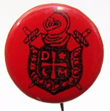 1920's or older DEMOLAY pinback button Masonic black on RED +