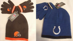 NFL TEAM APPAREL Reebok 2-4 Toddler Hat Gloves Choice Browns Colts NWT