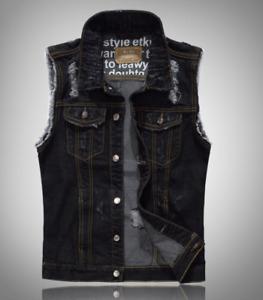 Mens Denim Ripped Vest Trucker Biker Wash Waistcoat Sleeveless Jeans Jacket