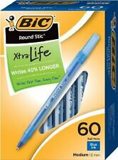BIC Blue Ink Round Stic Xtra Life Ball Pen Medium Point 1.0 mm 60 ct Pens