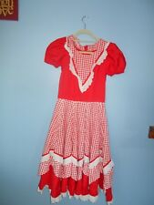 RED  GINGHAM WESTERN  SQUARE DANCE FULL CIRCLE DRESS