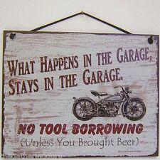 Garage Sign What Happens Motorcycle Beer Tools Dewalt Bike Stays Man Cave Vtg
