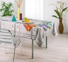 Nappe jacquard rectangle 140x240cm bleu/gris Majorque polyester