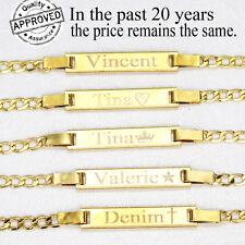 18K Gold Filled Baby ID Bracelet With Engraving 6' adjustable Bracelets for girl