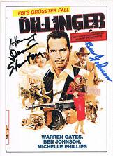 "Ben Johnson & Harry Dean Stanton autograph signed poster card 4""x5.5"" DIllinger"