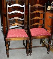 A pair of Victorian Oak Ladder Back Dining Chairs - FREE Shipping [PL4422]