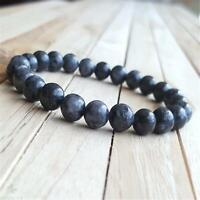 8mm Spectrolite Beads Handmade Mala Bracelet Bangle Prayer Spirituality Japa