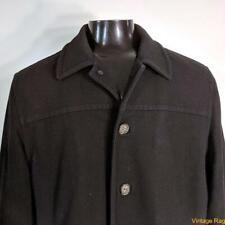 J. CREW Wool Jacket Blazer Car Coat Mens Size L large Black insulated