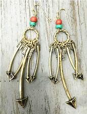 Rustic Western Burnished Gold Hoop Multi Arrow Earrings Wire Dangles Beads red