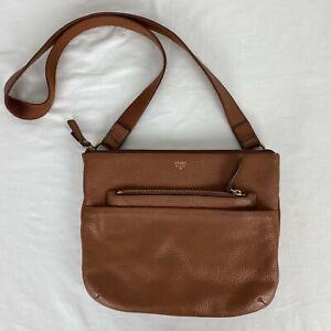 Fossil Womens Medium Brown Leather Crossbody Shoulder Bag