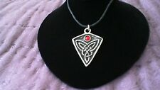 St. Ninian's Knot Pewter Pendant Red Stone Necklace! Celtic Pictish Scottish