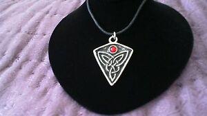 St. Ninian's Knot Pewter Pendant Red Stone Necklace! Celtic Pictish Scottish