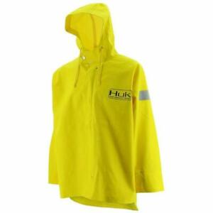 Huk~Commercial Grade Yellow~Fisherman's Foul Weather PVC Rain Jacket XL NWT
