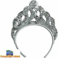 FAIRYTALE PRINCESS SILVER SEQUIN CROWN TIARA womens ladies fancy dress accessory