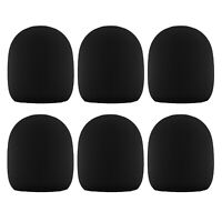 6 Pack Microphone Windscreen Sponge Foam Handheld Mic Covers Karaoke DJ Black