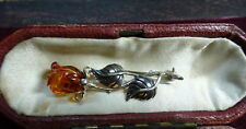 Beautiful Vintage Natural Baltic Cognac Amber Rose Sterling Silver Brooch