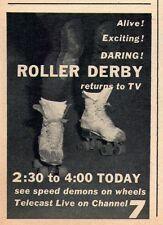 1958 ROLLER DERBY TV AD~SPEED DEMONS ON WHEELS~QUADS SKATES~DARING & EXCITING