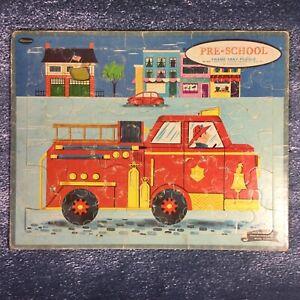 "Vintage 1961 Whitman Firetruck Frame Tray Puzzle 11.5 X 14.5"""