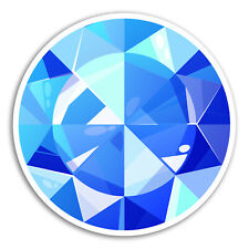 2 x 10cm Blue Gem Stone Vinyl Stickers - Jewel Game Fun Sticker Laptop #17582
