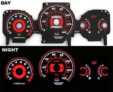 99-00 Honda Civic Si Red Reverse EL Glow Gauge Type-R BLACK FACE MT