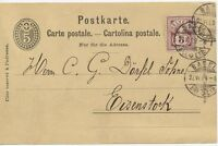 "SCHWEIZ ""BASEL / BRF. EXP."" K2 5 C GA-Postkarte m. 5 C braunkarmin Zusatzfr 1889"