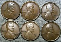 1911 1913 1914 1915-D 1915-S 1918-S Lincoln Wheat Cents ---- NICE LOT ---- #B875