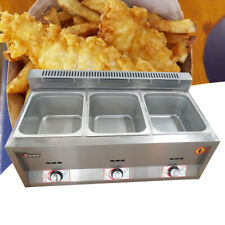 3 Pan Commercial Natural Gaspropane Fryer Deep Fryer Food Warmer Steamer 18l Us