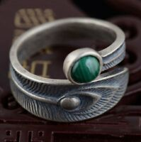 925 Sterling Silver Peacock Feather Ring Adjustable Leaf Malachite Stone Green