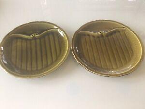 Pair Vintage French Gien dark green divide plates.