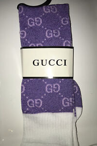 Gucci Sparkle Purple GG Pattern Long Socks (Free Pink Socks)
