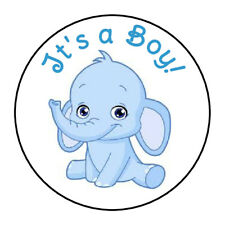 """24 ITS A BOY BABY BLUE ELEPHANT SHOWER FAVOR LABELS ROUND STICKERS 1.67 """""""